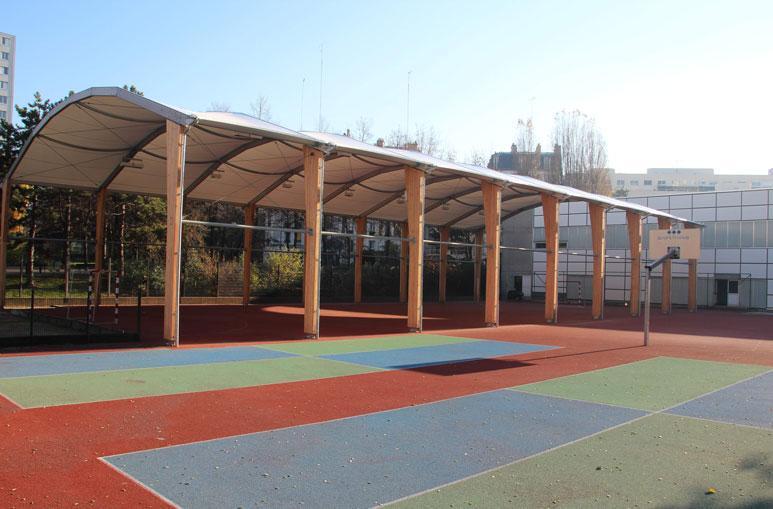 Préau de terrain multisports - Système de construction - Bâtiments sportifs et Espaces Loisirs