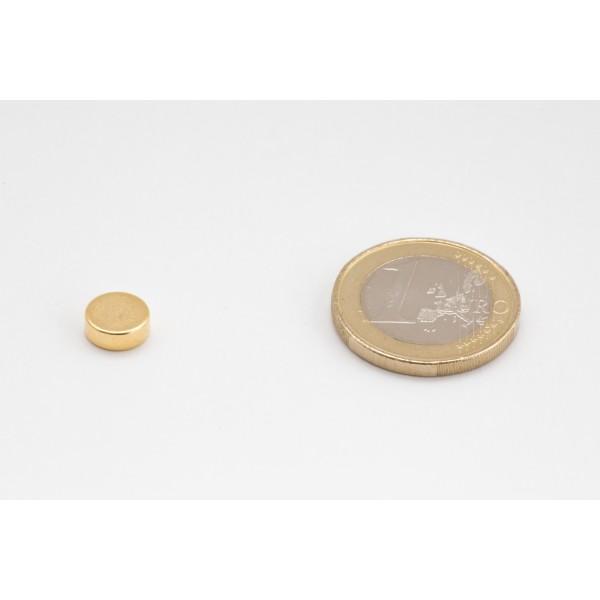 Neodymium disc magnet 8x3mm, N45, Ni-Cu-Ni-Au, Gold plated - Disc