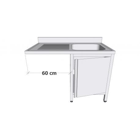 Plonge en inox sur armoire à porte battante - Plonges inox sur armoire + espace lave-vaisselle