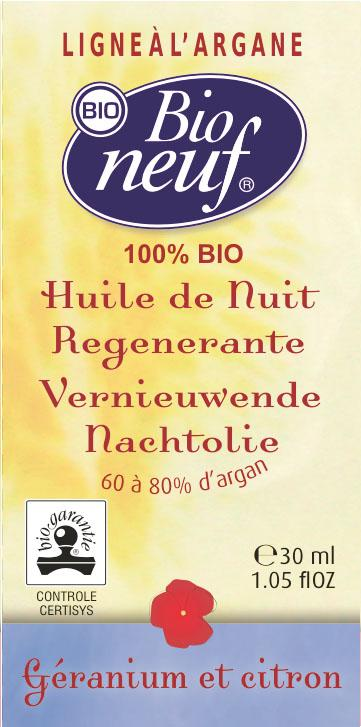 HUILE DE NUIT REGENERANTE 30 ml Géranium et citron - COSMETIQUE BIO