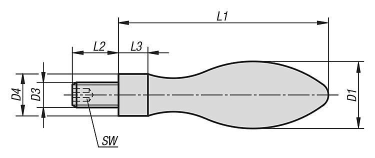 Poignée fixe DIN 39, Forme E, en aluminium - Volants, manivelles et poignées