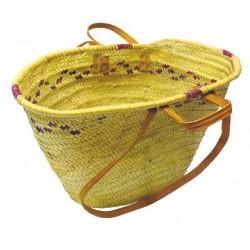 Couffin palmier naturel anses cuir - Sacs et Cabas