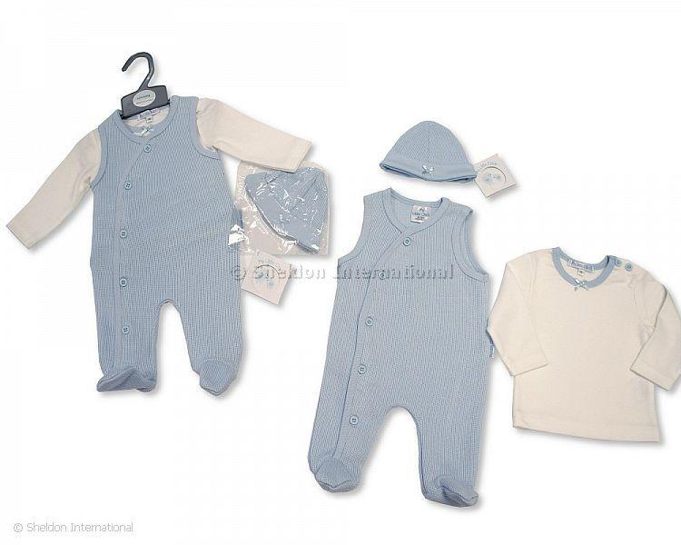 Baby Boys Ribbed 2 pcs Romper Set with Hat - Infant Sets - Winter