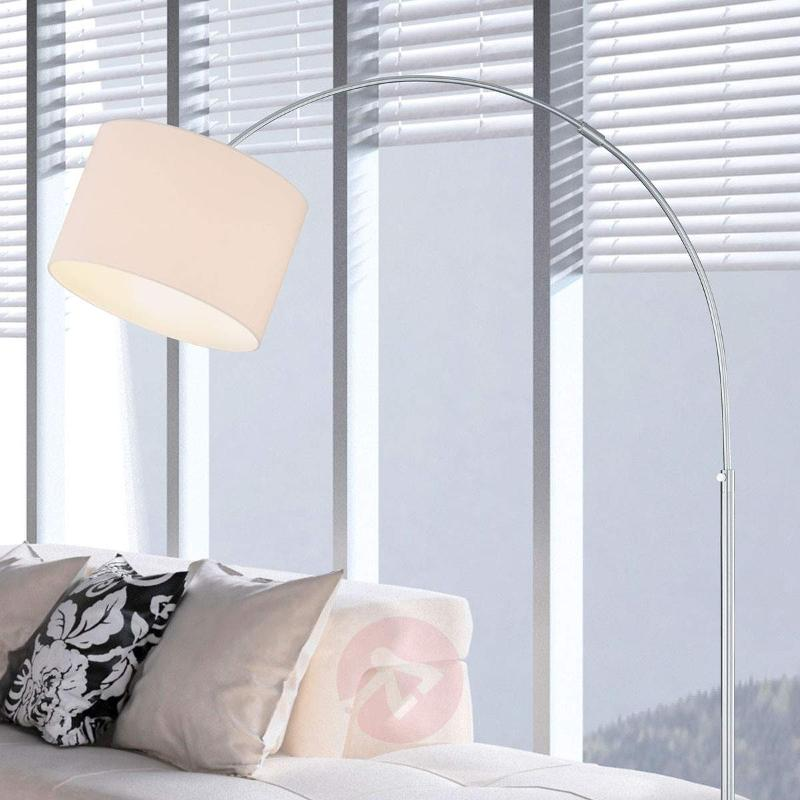 Curved floor lamp Risa with fabric lampshade - Arc Lamps