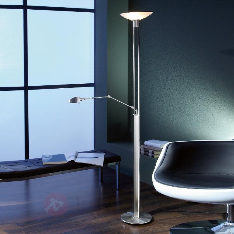 Lampadaire à vasque raffiné PETULA avec liseuse - Lampadaires à éclairage indirect