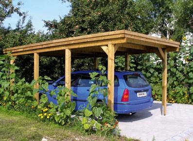 Carport en bois - Toit plat
