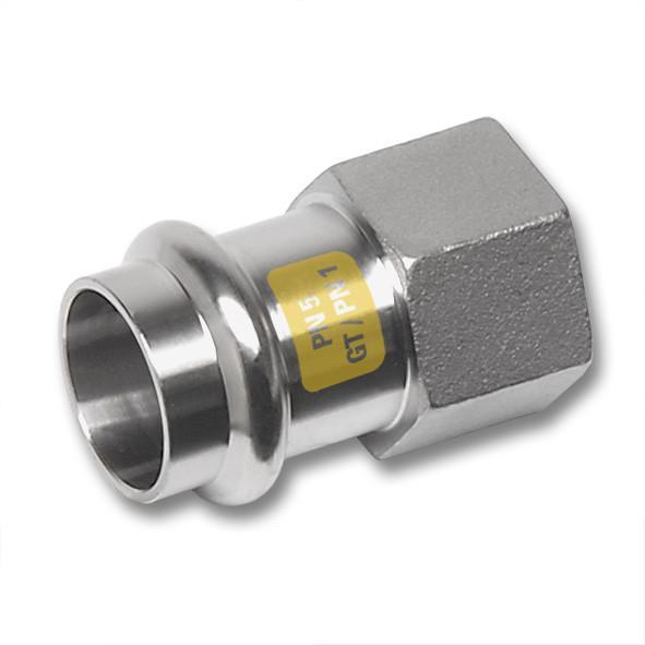 Edelstahl-Rohrleitungssystem NiroSan® Gas, Übergangsmuffe - NiroSan® Gas Übergangsmuffe mit Pressanschluss und Innengewinde