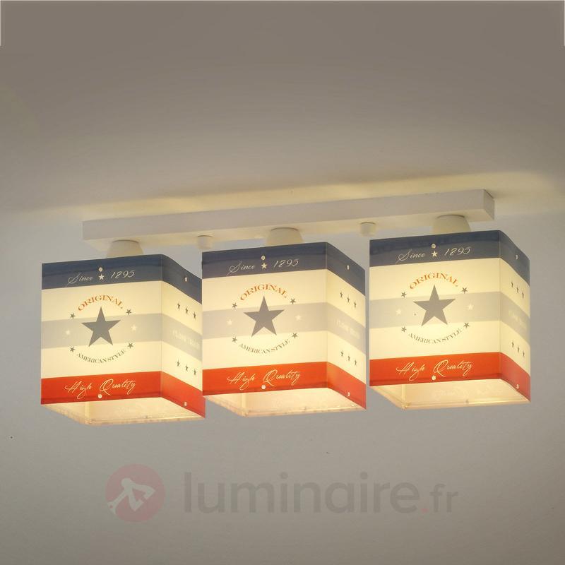 Plafonnier à rayures American Style, 3 lampes - Chambre d'enfant