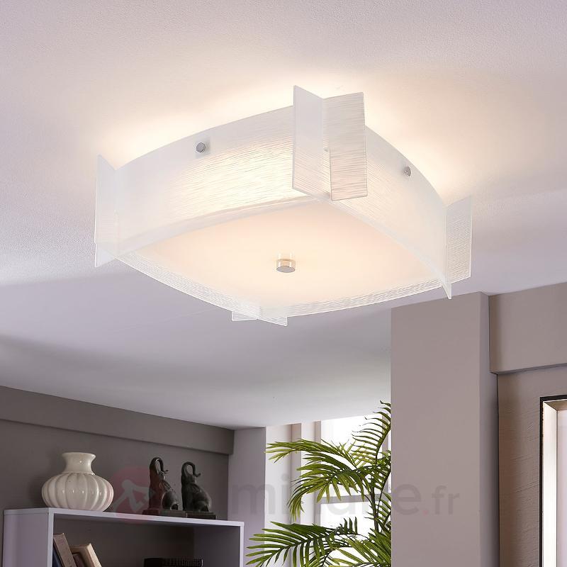 Plafonnier en verre Edvic avec des LED - Plafonniers LED