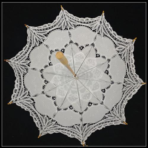 High-end 100% hand-made lace sun umbrella(white) - Craft umbrella