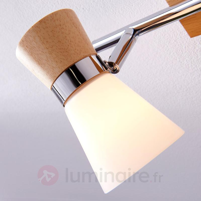 Plafonnier en bois à 2 lampes Vivica, verre - Plafonniers en bois