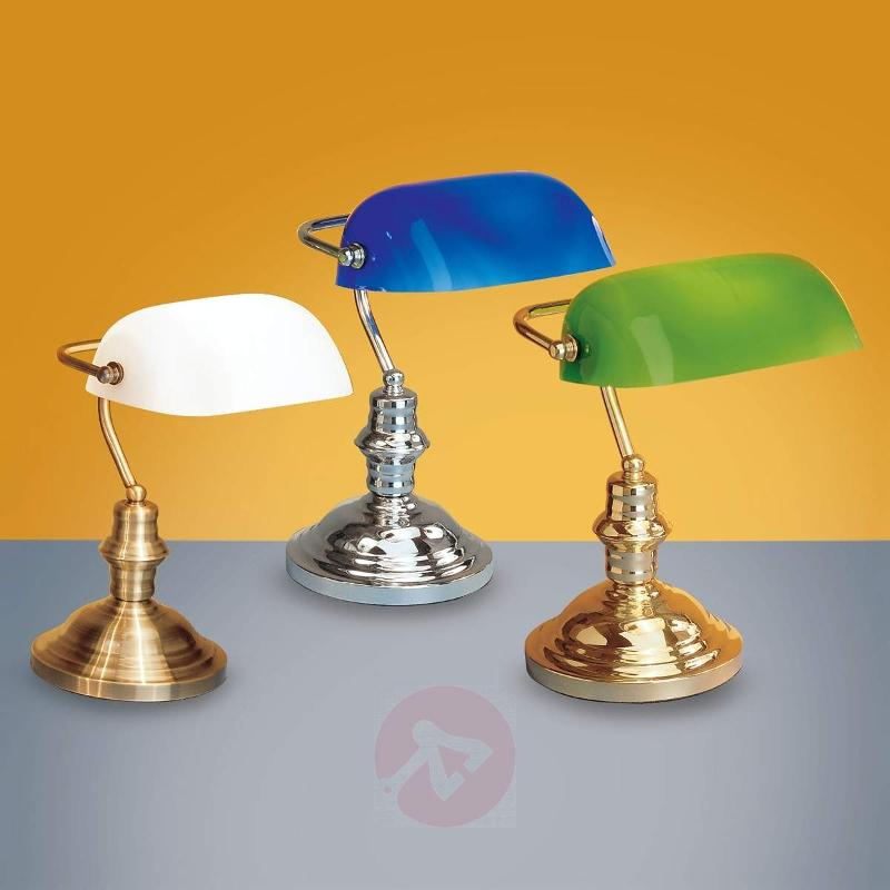 Onella Table Light Banker-Style Opal - Desk Lamps