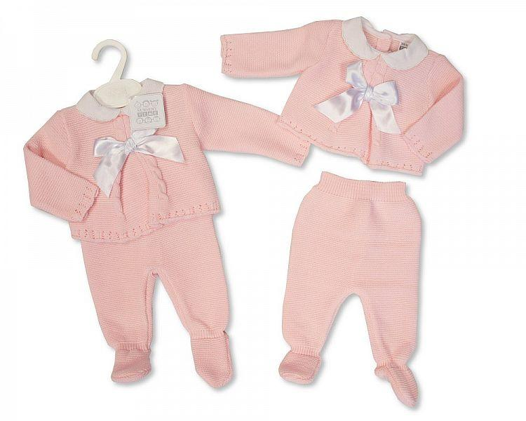 Spanish Style Knitted Baby Girls 2 Pieces Pram Set with Bow  -