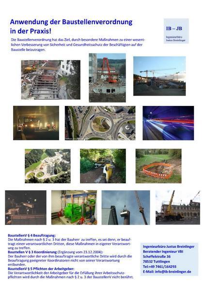 Baustellenverordnung  - Arbeitshilfe zur Umsetzung der BaustellenV in der Praxis