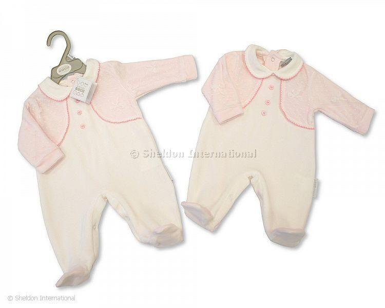 Baby Girls Velour All in One with Lace - 360 - Velours