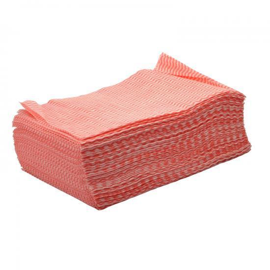 Lavette non-tissé rouge très absorbante carton de 300F... - Essuyage