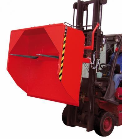 Schaufel, Anbaugerät für Gabelstapler - Schaufel mit Einfahrtaschen für Gabelzinken und Abkippmechanismus