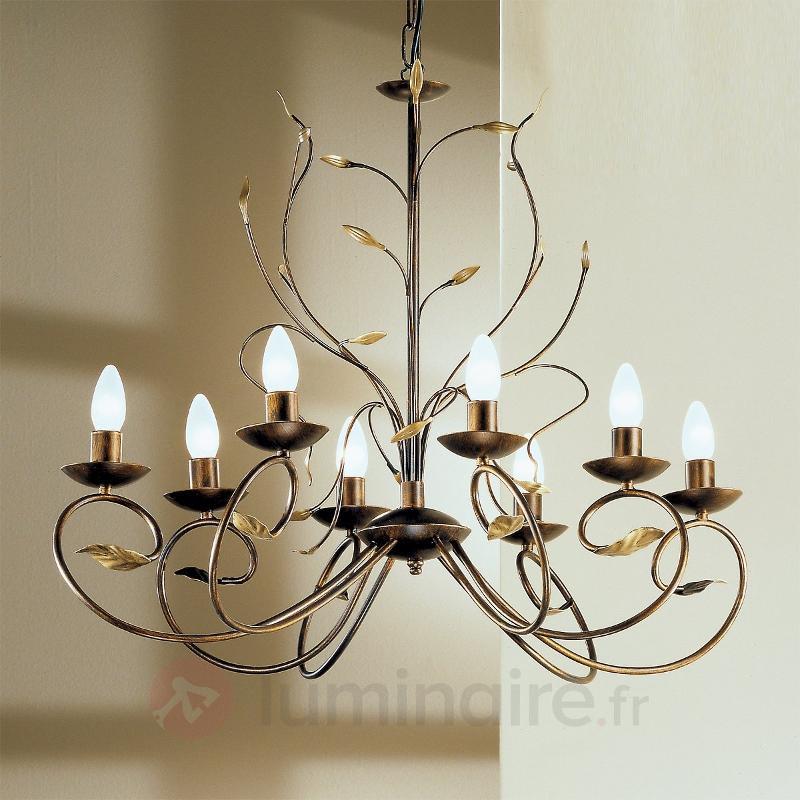 Lustre REGINE au style florentin ovale, 8 lampes - Lustres rustiques