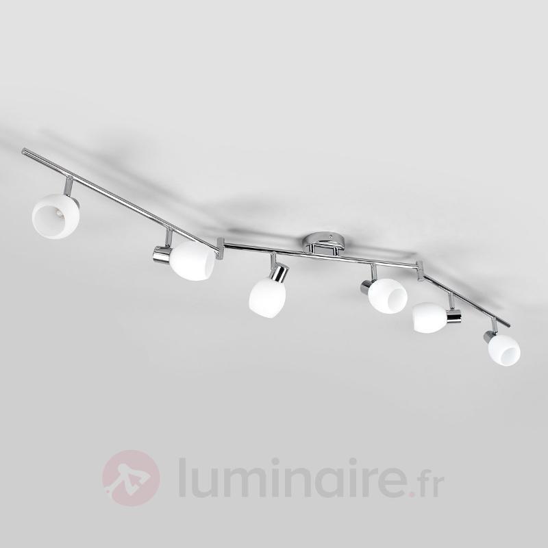 Plafonnier en verre à 6 lampes Aidan, LED - Plafonniers LED