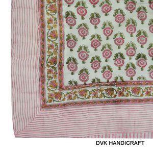 India traditional jaipuri razai (Quilt), block print kantha  - hand block printed cotton kantha quilt, india traditional soft cotton fine quilt