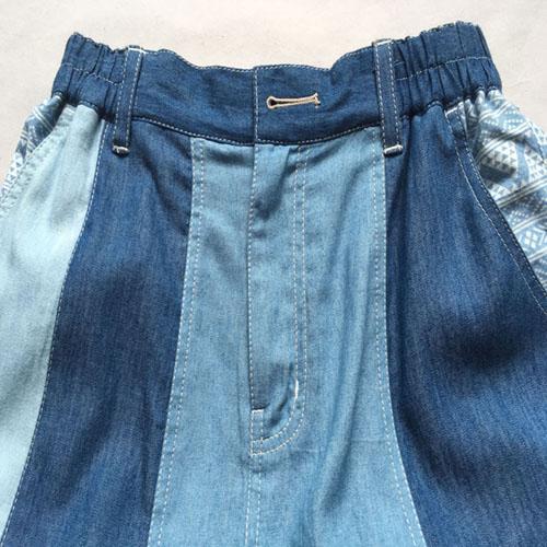 Long denim skirt Stonewashed long blue denim patchwork -