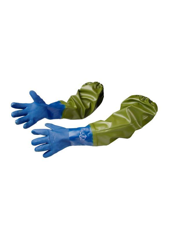 Extended blue gloves - null