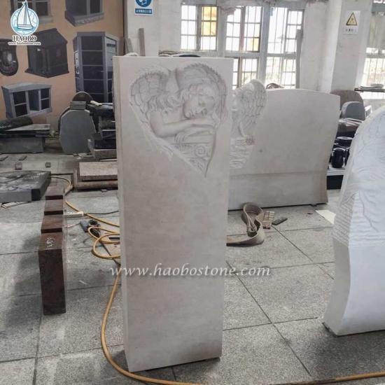 Marble Gravestone Angel Carving Headstone Tombstone - Angel Headstone