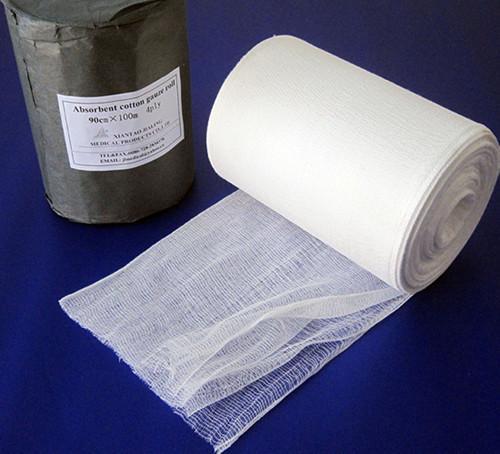 Rouleau de gaze à quatre plis - Gaze écrémé médical 100% coton, après décoloration, séchage haute température. L