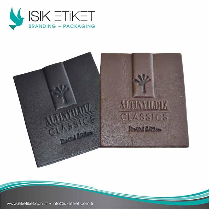 Leather Labels, Jacron Labels, Leather Patches - Customized high quality labels, sizes, Imitation leather, Original leather