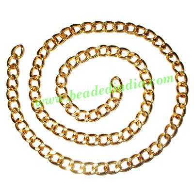 Gold Plated Metal Chain, size: 1.5x7.5mm, approx 12.1 meters - Gold Plated Metal Chain, size: 1.5x7.5mm, approx 12.1 meters in a Kg.