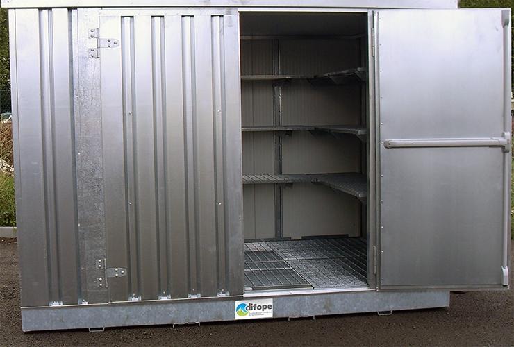 Bungalow de stockage 3 m x 2 m - Bungalow isolé -... - BUNG3MIPF Bungalows de stockage avec rétention