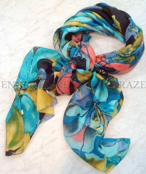 Silk reversible printed Scarves - Silk reversible printed Scarves