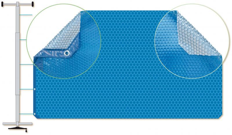 Couverture à bulles finition solo bleu pour piscine rectangulaire - Solobleu7x3.5