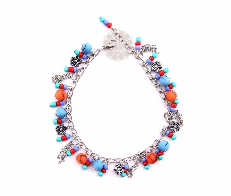 Multicolor Floral Anklet -