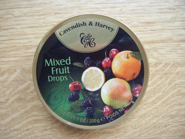 Fruit candies in a metal round box 200gr