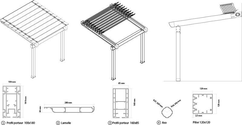 Pergola Persa - Pergola en aluminium à toile rétractable ou à lamelles orientables pour...