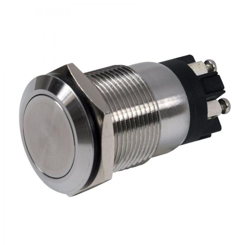 Bouton poussoir inox 19 mm - NO + NC - Bornier à vis -... - Gestion d'accès