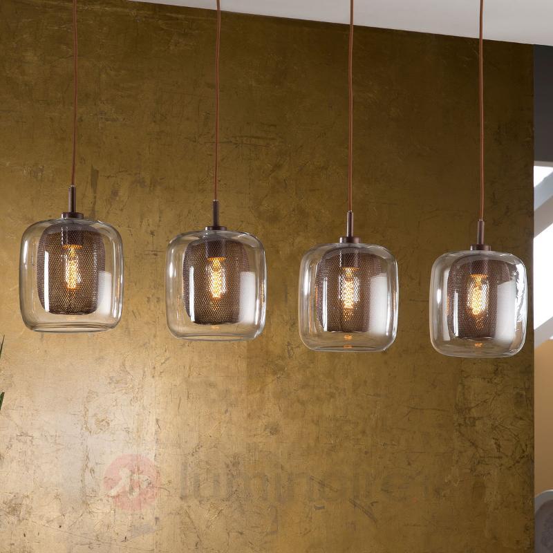 Suspension Fox à 4 lampes avec double abat-jour