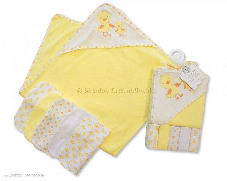 Baby Hooded Towel and Wash Cloth Set - Lemon - Hooded Towels
