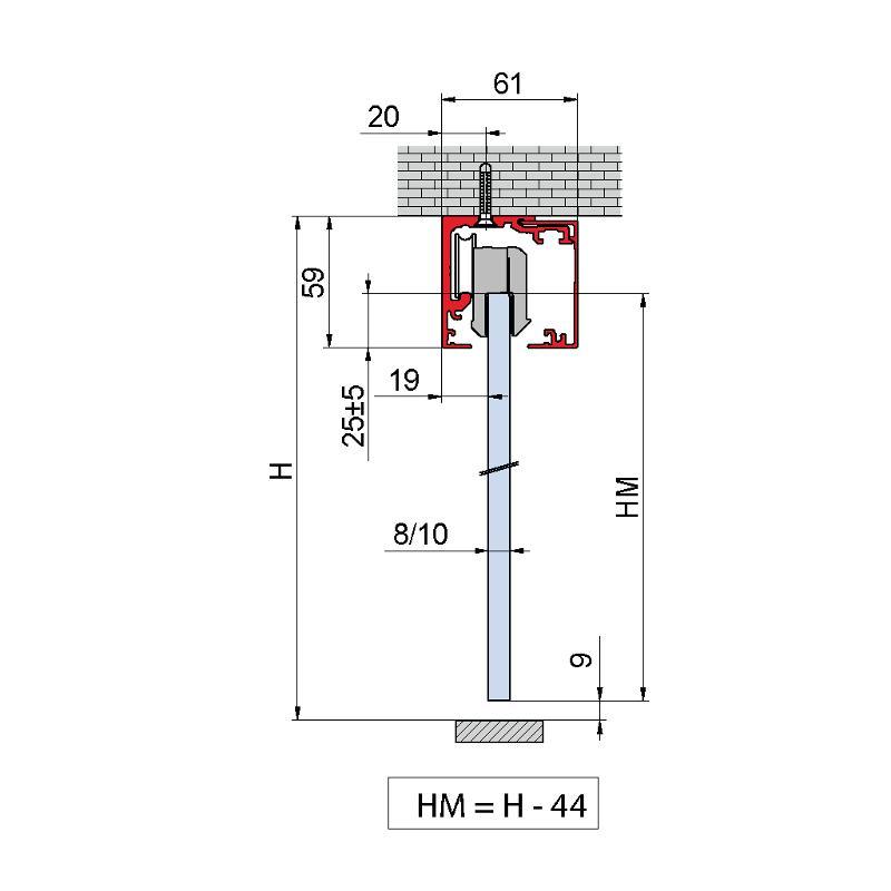 V-5400 - ceiling / wall, sliding door set 2-doors with soft-close - Metalglas