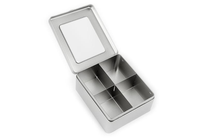 Tea tin with 4 compartments and window - null
