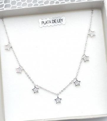 Gargantilla Estrellas Plata Circonitas - Encantadora gargantilla con estrellas colgando