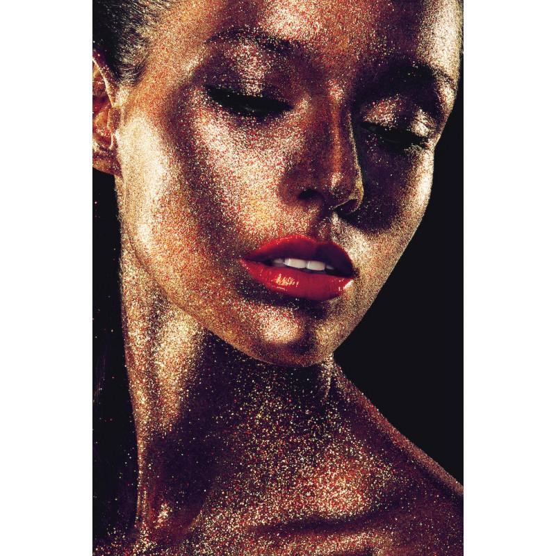 Tableau sur verre VISAGE DE FEMME (80 x 120 cm) (doré) - Choisissez ce tableau sur verre aux couleurs dorées et pailletées.