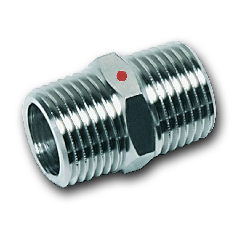 Threaded double adaptor, male/male thread, Stainless steel - Stainless steel press fitting system NiroTherm®, AISI 304, EPDM