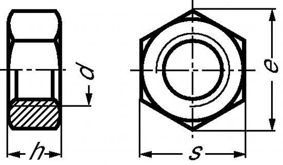 ECROU HEXAGONAL (HU) H = 0,8 D INOX A2 - DIN 934 (215601)