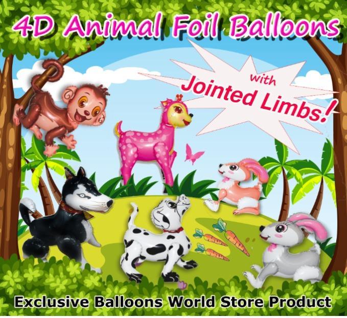 4D ANIMALS - 4D Animal Foil Balloons