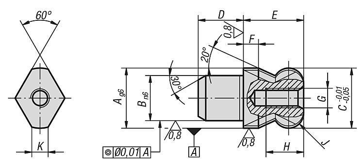 Cimblot épaulé à bout sphérique dégagé forme D - Éléments de positionnement