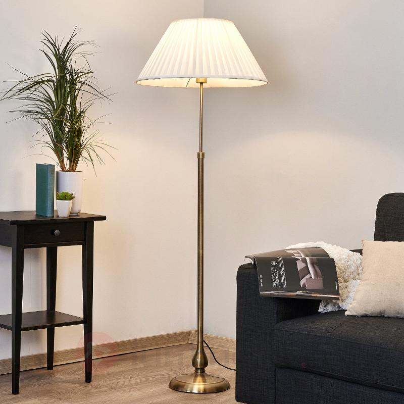 Leilan - Lampadaire en tissu avec LED E27 - Lampadaires en tissu