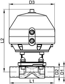 62366 VANNE À MEMBRANE PNEUMATIQUE KDV-P160, EXTRÉMITÉS À SOUDER - NF - Vannes à membrane DIN