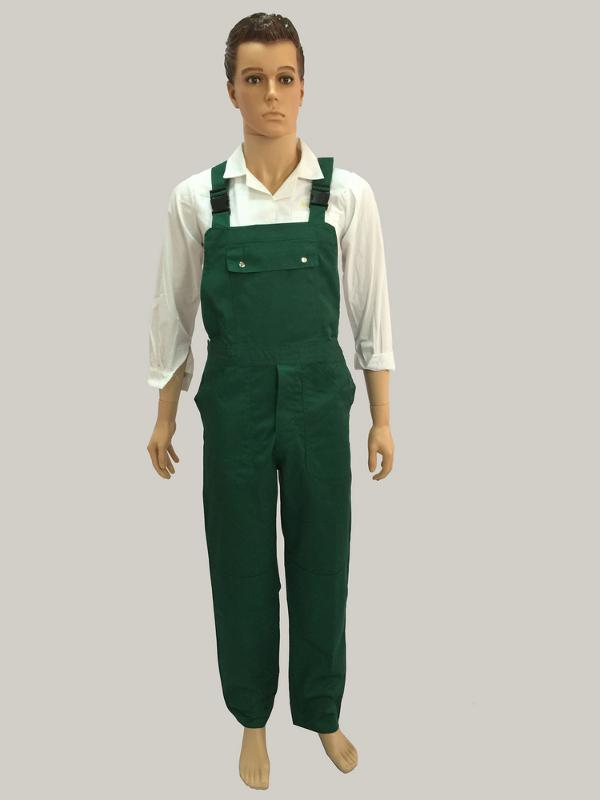 bib pants with adjustable belt with plastic buckle - one chest pocket with metal buttons and two side pockets